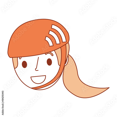 cute young girl child with sport helmet vector illustration