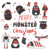 Set of hand drawn cute funny monsters in Santa Claus hats, with ornaments, text Merry Monster Christmas. Isolated objects on white background. Vector illustration. Design concept kids, winter holidays - 184294062