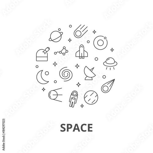 Fototapeta Space illustration line style