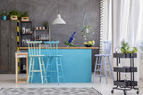 Stools and blue kitchen island - 184297436