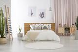 Bright bedroom with cactus motif - 184297495