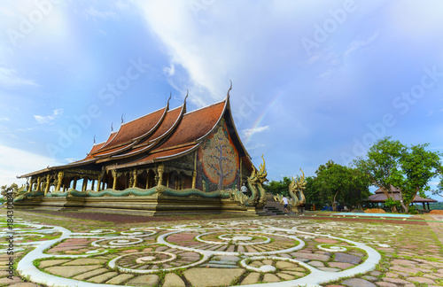 Foto op Aluminium Boeddha Beautiful Sirindhorn Wararam Phu Prao Temple ( Wat Phu Prao ) with rainbow, Ubon Ratchathani province, Thailand