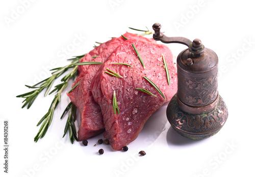 Plexiglas Steakhouse Beef steak isolated on white background.