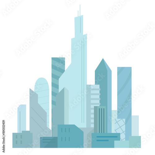 Sticker City future. Building skyscraper architecture landscape. Very tall buildings. Business center.