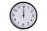 Round office wall clock on white, midnight or midday