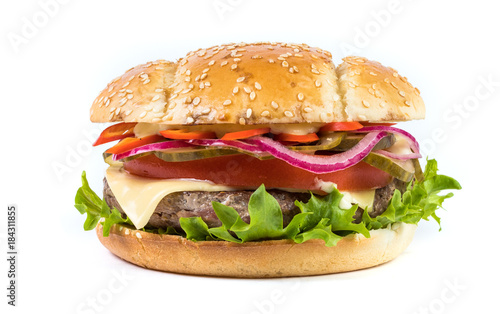 Fotobehang Restaurant Fast food Burger with salad isolated against white background