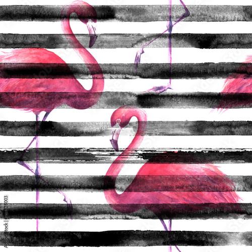 Seamless pink flamingos pattern - 184326003