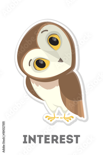 In de dag Uilen cartoon Isolated interested owl.