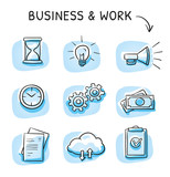 Business icon set with file sharing cloud, clock, hourglass, money, checklist, documents, light bulb and gears. Hand drawn sketch vector illustration, blue marker style coloring on single blue tiles. - 184331892