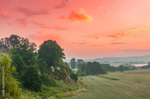 Poster Zalm Colorful morning landscape in the morning, Poland, Tyniec near Krakow