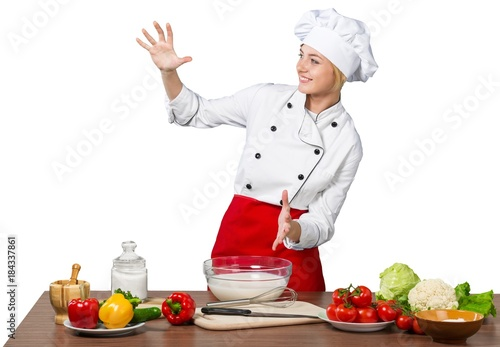 Sticker Female Chef Cooking Isolated