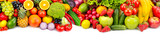 Panoramic collection fresh fruits and vegetables for skinali isolated on white background. Top view