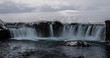 The iconic Goðafoss waterfall in winter, North Iceland - 184342427
