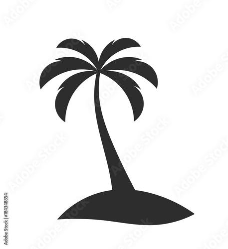 Single palm tree on the island
