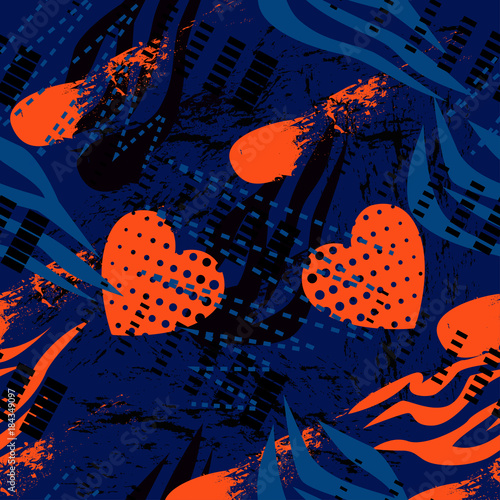 wzor-tapety,-czerwone-serca-na-niebieskim-tle
