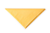 Yellow folded paper napkin isolated with clipping path - 184349890