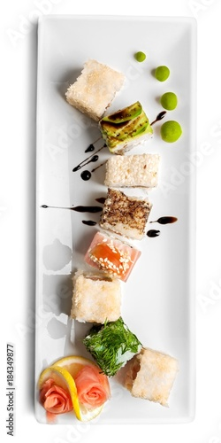 Tuinposter Sushi bar Sushi pieces collection, isolated on white background