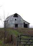 Isolated Barn on hilltop with fog  - 184353618
