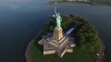 Gorgeous drone aerial view on statue of Liberty monument USA America national symbol in evening sunset ocean seascape - 184354010