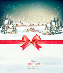 Merry Christmas Background with red gift bow and winter village. Vector