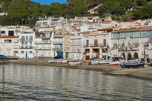 Plagát Spain Costa Brava Mediterranean village El Port de la Selva with traditionnal fi