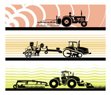 Set of different types of gardening and agricultural vehicles and machines. Spraying, agricultural protection, sowing, mowing, harvesting, planting, Agricultural works, soil preparation, arable land. - 184358466