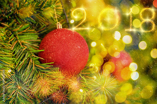 Christmas Tree background over Happy new year 2018 written with Sparkle firework Poster