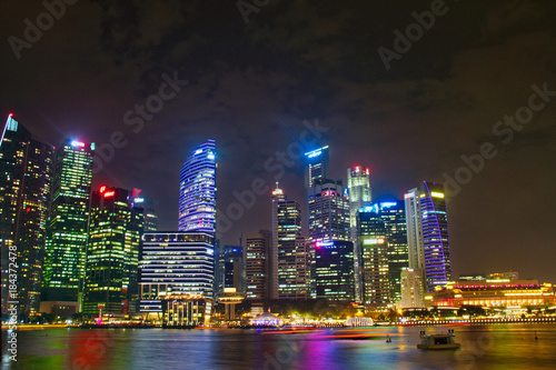 Singapore Skyline at Night Poster