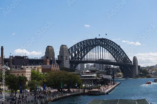 Plakat Hafen von Sydney mit der Sydney-Bridge im Hintergrund