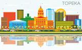 Topeka Kansas USA Skyline with Color Buildings, Blue Sky and Reflections. - 184385696