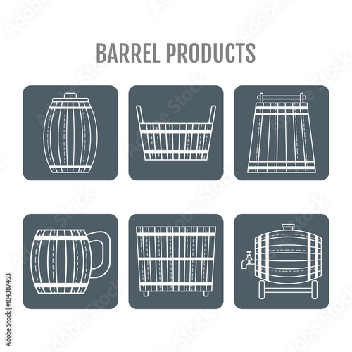 Barrel products. Vector illustration. Flat objects isolated