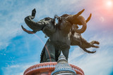Erawan museum, Bangkok Thailand, elephant statue in the sunlight