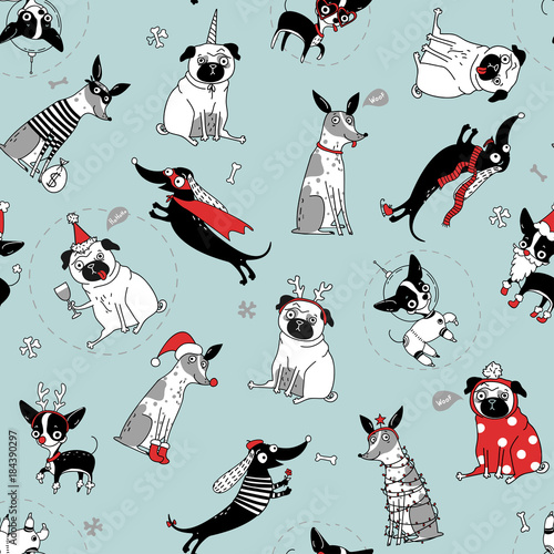 Plexiglas Hipster Hert funny seamless texture with dogs in christmas costumes, vector illustration