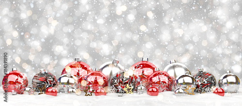 Foto op Aluminium Bol Red and white christmas baubles lined up 3D rendering