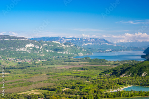 Plexiglas Bergrivier Panoramic view of french Alps