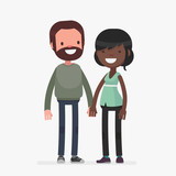 interracial cute couple vector illustration