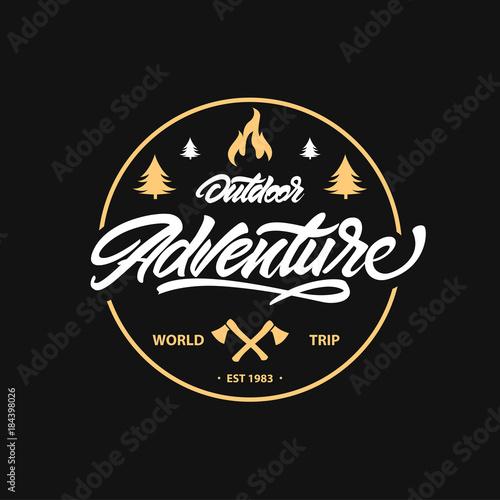 Plexiglas Vintage Poster Vintage camping, outdoor adventure emblem.Lettering with axe and bonfire. Vector retro label. Logo design templates