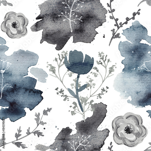 Seamless background pattern with twigs and flowers. Watercolor hand drawn illustration - 184398625