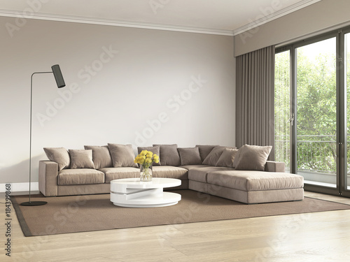 Contemporary beige and grey living room