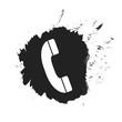Schwarzer Farbfleck mit Telefonhörer Symbol