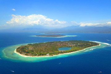 Top view of Lombok Island, Bali