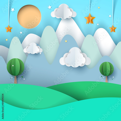 Tuinposter Groene koraal cartoon paper landscape. Mountain, cloud, star, tree, sun.