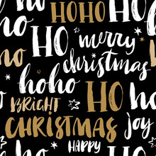 Merry Christmas Hand Drawn Seamless Pattern  Calligraphy Handwritten Modern Brush Lettering Dry Brush And Rough Edges Ink Doodle Illustration    Sticker