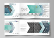 Business templates for tri fold square design brochures. Leaflet cover, vector layout. Abstract infinity background, 3d structure with rectangles forming illusion of depth and perspective.