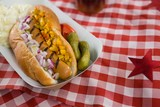 Hot dog served on table cloth - 184412662