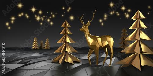 Stilisiertes Rentier mit Bäumen in Gold und Sternenhimmel