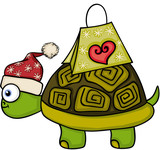 Christmas turtle with gift - 184416613