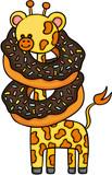 Cute giraffe with chocolate cake donut  - 184416652