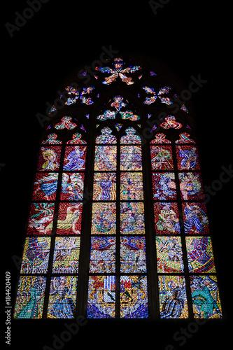 Vitraux de la Cathédrale Saint-Guy de Prague Vieille ville (Stare Mesto), Prague, Bohême, République tchèque, Europe
