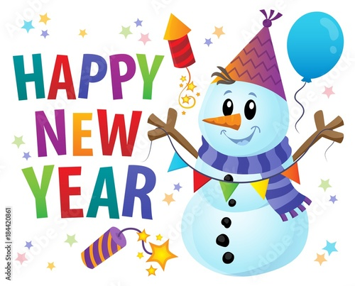 Plexiglas Voor kinderen Happy New Year theme with snowman 1